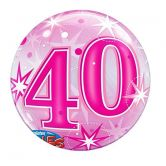 40th Birthday Pink Starburst Bubble Balloon
