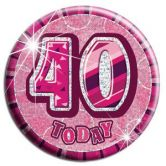 40th Birthday Badge Glitz Pink Party Accessory