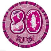 80th Birthday Badge Glitz Pink Party