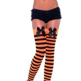 Stockings Black/Orange Striped with Bow