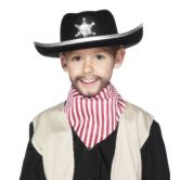 Childs Sheriffs Hat Black Felt with Silver Trim and Badge