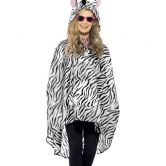 Zebra Party Poncho, Shower Resistant