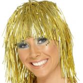 Cyber Tinsel Wig Metallic Gold