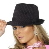 Gangster Hat Black with Pink Pinstripe