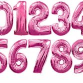 34 Inch Magenta Foil Number Balloons 0 - 9