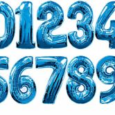 34 Inch Blue Foil Number Balloons 0 - 9