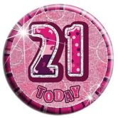 21st Birthday Badge Glitz Pink Party Accessory