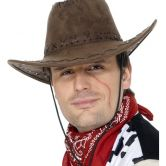 Suede Look Cowboy Hat - Brown