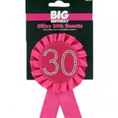 30th Birthday Rosette Black & Hot Pink