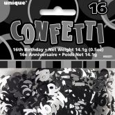 Black Glitz 16th Birthday Confetti