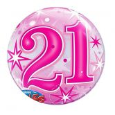 21st Birthday Starburst Bubble Balloon