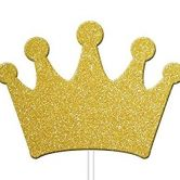Gold Glitter Princess Crown Cupcake toppers