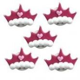 Edible Sugarcraft Pink Princess Crown Themed Cupcakes Cake Toppers