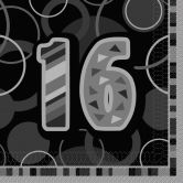 16th Birthday Glitz Black/Silver Luncheon Napkins
