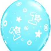 1st Birthday Boy (Stars) helium filled latex balloon