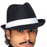 Trilby Hat Black with White Pin Stripes