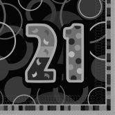 21st Birthday Glitz Black/Silver Luncheon Napkins