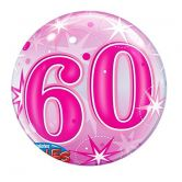 60th Birthday Pink Starburst Bubble Balloon