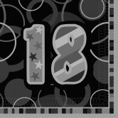 18th Birthday Glitz Black/Silver Luncheon Napkins