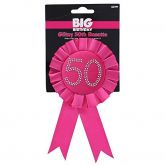 50th Birthday Rosette  Black