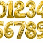 34 Inch Gold Foil Number Balloons 0 - 9