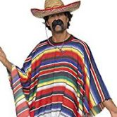 Poncho Adult Costume multi-colored One Size