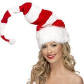 Striped Santa Hat, Red and White