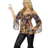 Hippie Costume with Patterned Top and Flares