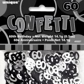 Black Glitz 60th Birthday Confetti