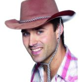 Cowboy Hat Brown Flocked Plastic