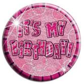 Glitz Birthday Pink Its my Birthday Badge
