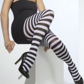 Tights White & Black Striped