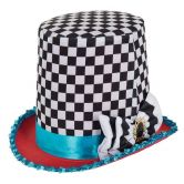Stovepipe Mad Hatter Chequered Hat, Multi-colour, One Size