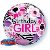 Birthday Girl/Zebra Stripes Bubble Balloon