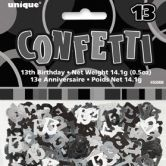 Black Glitz 13th Birthday Confetti