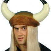 Viking Helmet PVC with Long Blonde Hair and Fur Trim