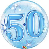 50th Starburst Sparkle Single Bubble Balloon