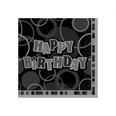 Glitz Birthday Black Lunch Napkins - 16 pack