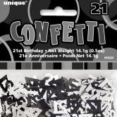 Black Glitz 21st Birthday Confetti