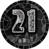Dazzling Effects 21st Birthday Big Badge - Black - 15.5cm