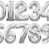 34 Inch Silver Foil Number Balloons 0 - 9