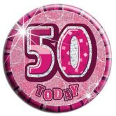 50th Birthday Badge Glitz Pink Party Accessory