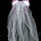 Pink Devil Horns/veil Fuchsia with White Veil and Feathers