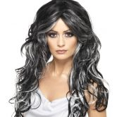Gothic Bride Wig, Black and Grey