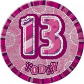 13th Birthday Badge Glitz Pink Party Accessory
