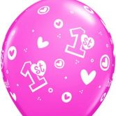 1st Birthday Girl (Hearts) helium filled latex balloon