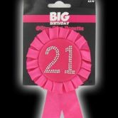 21st Birthday  Rosette Hot Pink & Black