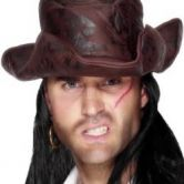Pirate Hat Brown Leather Look