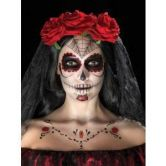 Day of the Dead Face Tattoo Transfers Kit, Red & Black