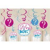 Girl or Boy Hanging Swirl Decorations